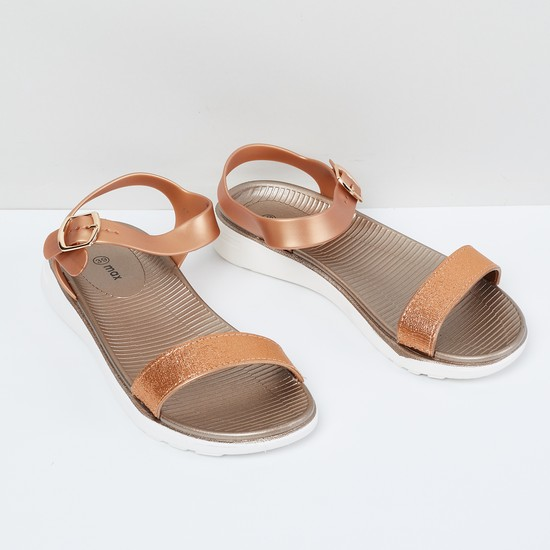 MAX Textured Ankle Strap Sandals