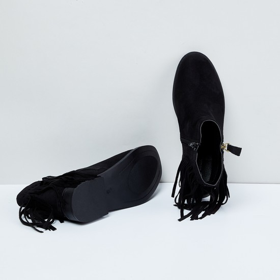MAX Solid Fringe Trimmed Boots