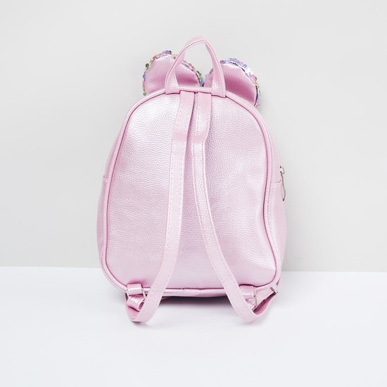 MAX Textured Backpack with Sequin Embellishments