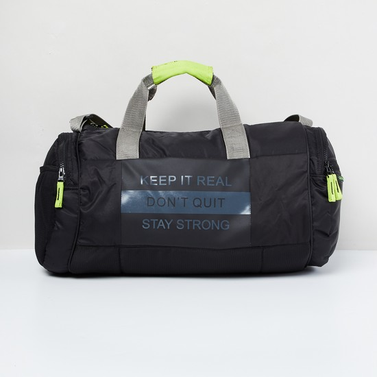 MAX Typographic Print Panelled Duffel Bag