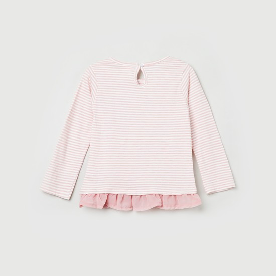 MAX Striped T-shirt with Ruffled Hemline