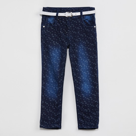 MAX Printed Stonewashed Jeans with Belt