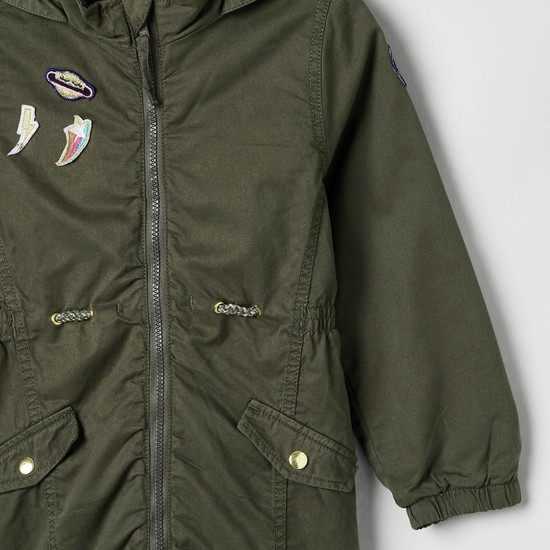 MAX Solid Jacket with Applique Detail