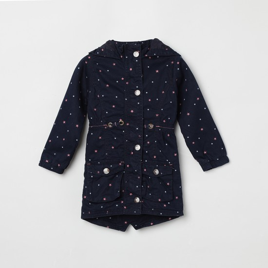 MAX Star Print Hooded Jacket with Long Sleeves