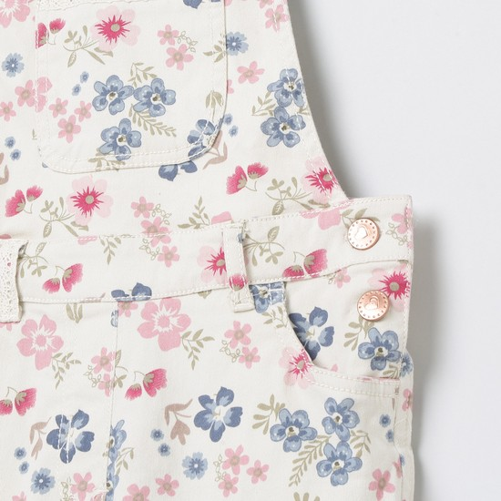 MAX Floral Print Dungarees with Upturned Hems