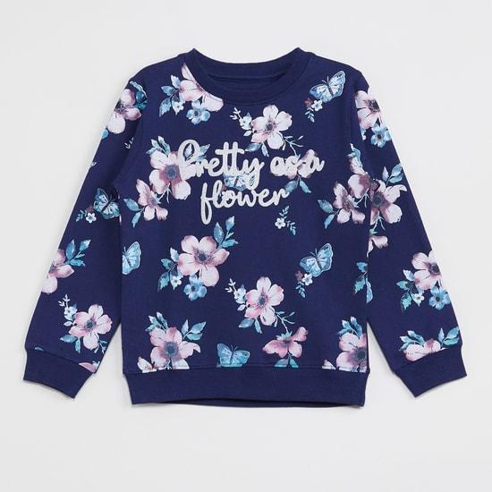 MAX Floral Print Round Neck Sweatshirt