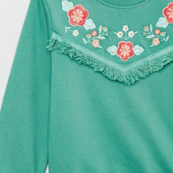MAX Embroidered Fringe Trimmed Sweatshirt