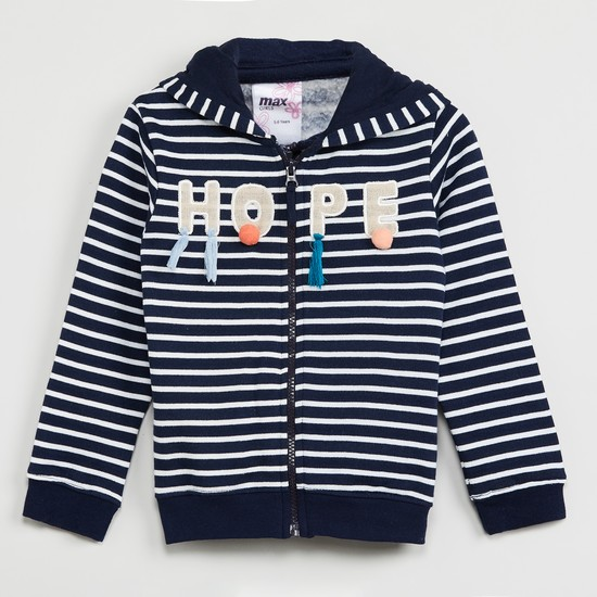 MAX Striped Full Sleeves Hooded Sweatshirt