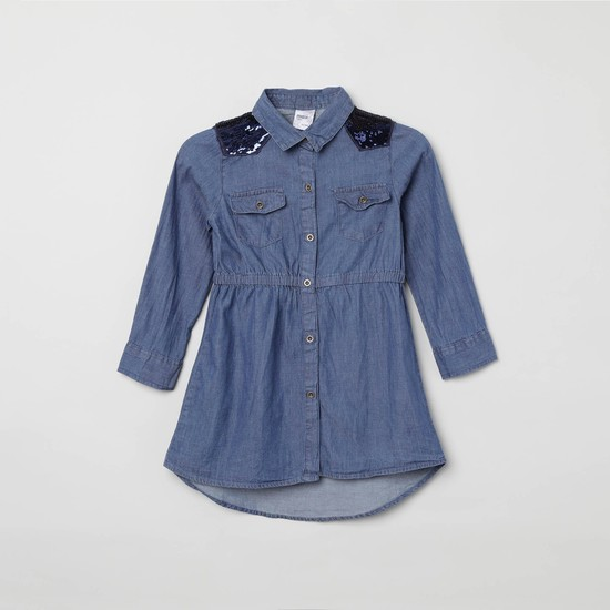 MAX Denim Shirt with Sequin Panelled Shoulders