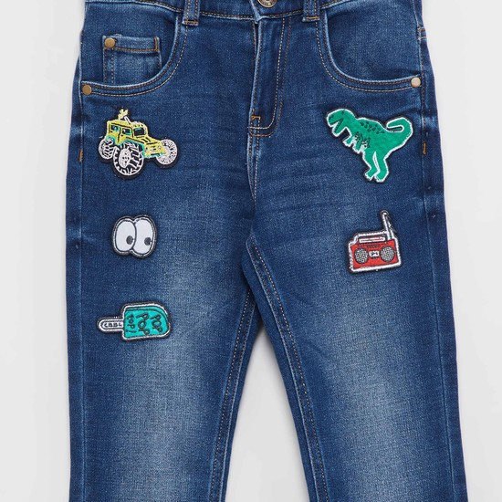 MAX Stonewashed Applique Detailed Jeans