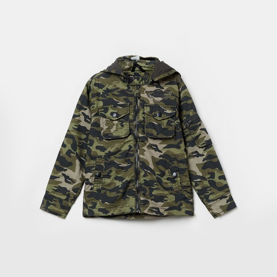 MAX Camouflage Print Hooded Jacket