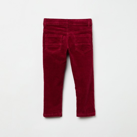 MAX Solid Woven Corduroy Trousers