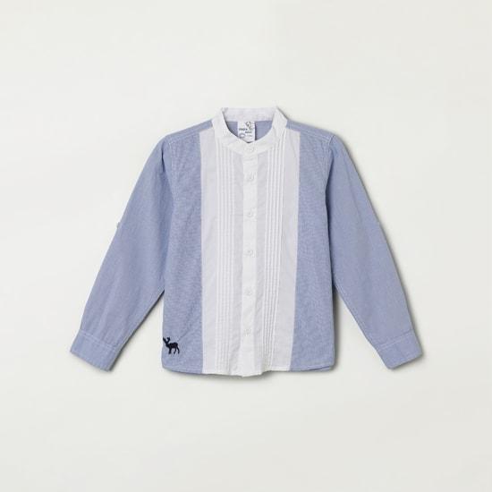 MAX Printed Full Sleeves Band Collar Shirt