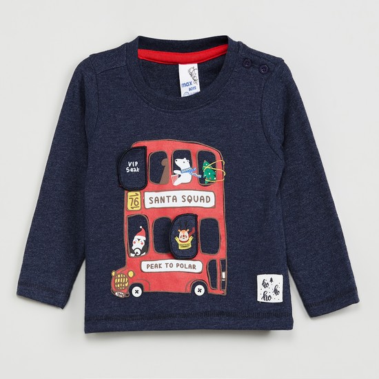 MAX Printed Full Sleeves T-shirt with Applique