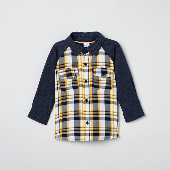 MAX Checked Raglan Sleeves Full Sleeves Shirt
