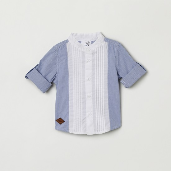 MAX Striped Band Collar Shirt