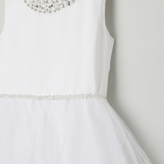MAX Embellished Tulle-Layered Fit-And-Flare Dress