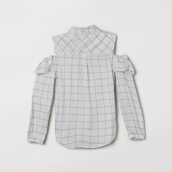 MAX Checked Ruffled Detailed Cold-Shoulder Top
