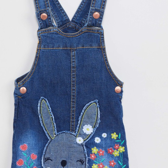 MAX Embroidered Denim Pinafore Dress