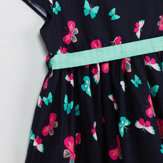 MAX Floral Print Dress with Tie-Up Detail