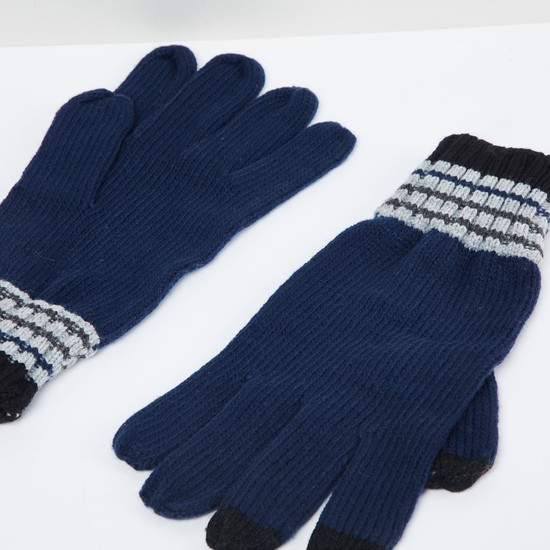 MAX Striped Knitted Gloves