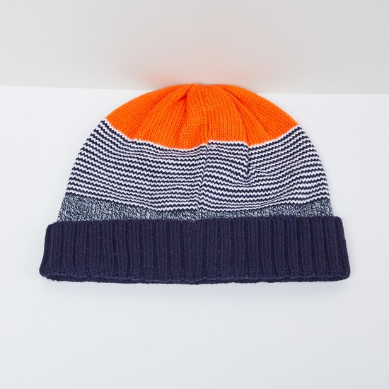 MAX Colourblocked Flat-Knit Beanie