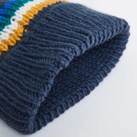 MAX Striped Flat-Knit Beanie