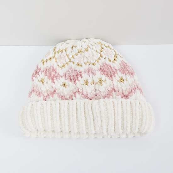 MAX Patterned Knit Beanie with Zari