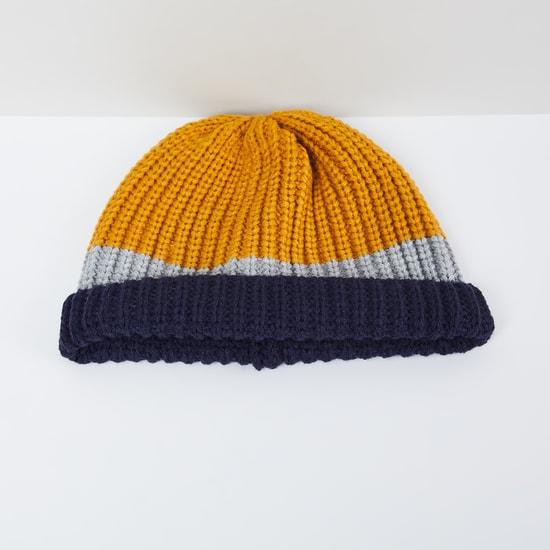 MAX Colourblocked Flat Knit Beanie