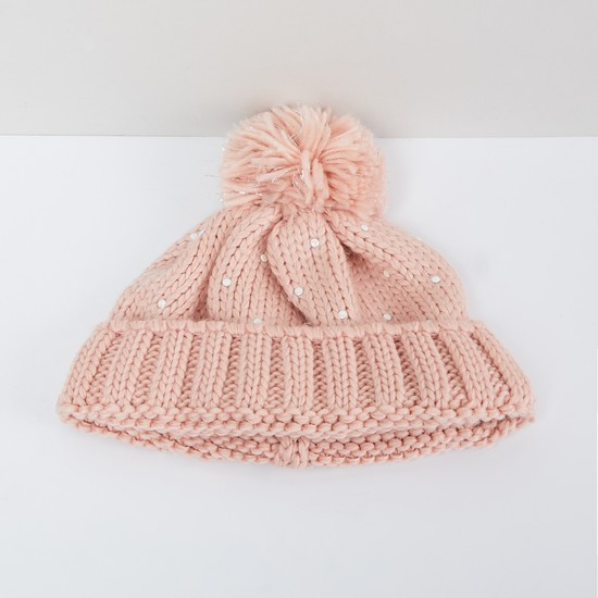 MAX Patterned Knit Embellished Beanie