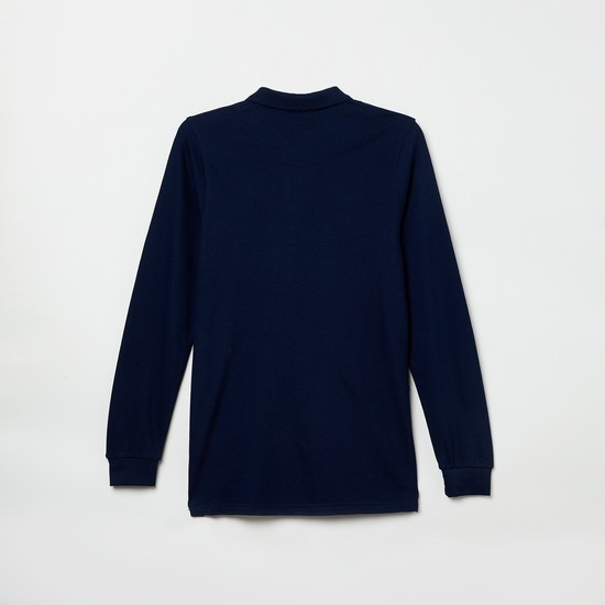 MAX Typographic Print Full Sleeves Polo T-shirt