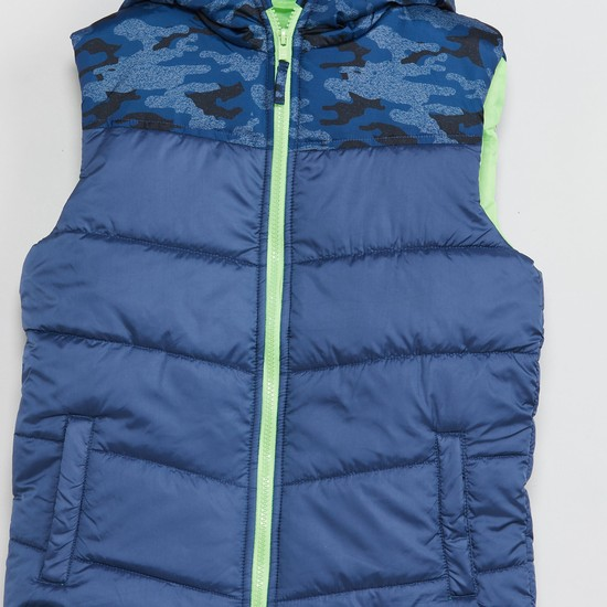 MAX Printed Sleeveless Quilted Hooded Jacket