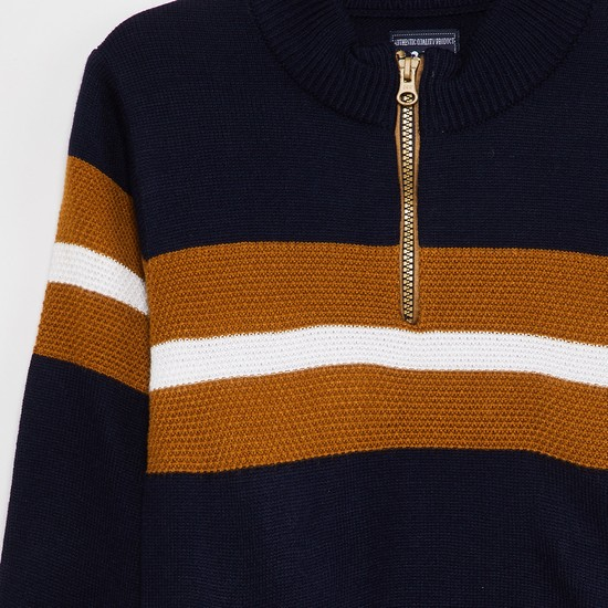 MAX  Colourblocked Zip Detailed Sweater