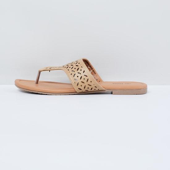 MAX Laser Cut Detail T-strap Sandals