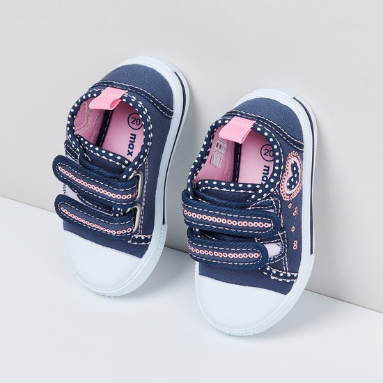 MAX Sequinned Casual Shoes with Velcro Closure