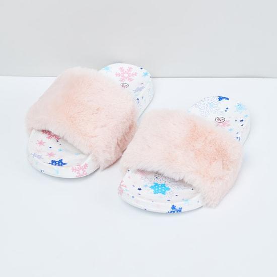 MAX Printed Faux Fur Sliders
