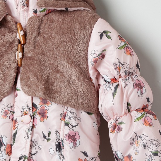 MAX Floral Print Hooded Jacket with Long Sleeves