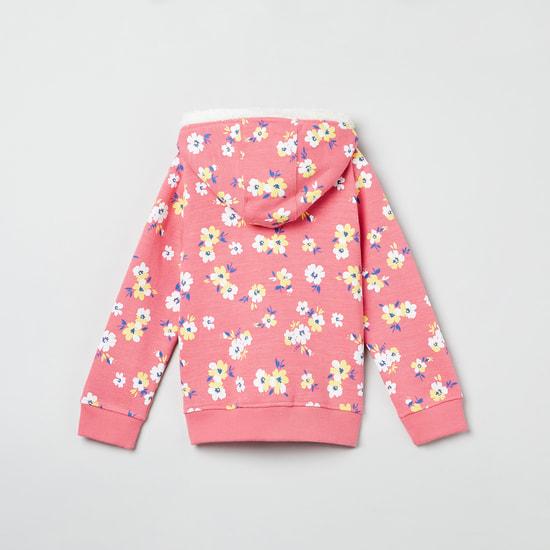 MAX Floral Print Zip-Up Sweatshirt