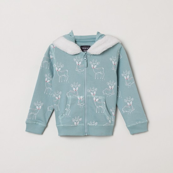 MAX Printed Hoodie with Faux-Fur Trim