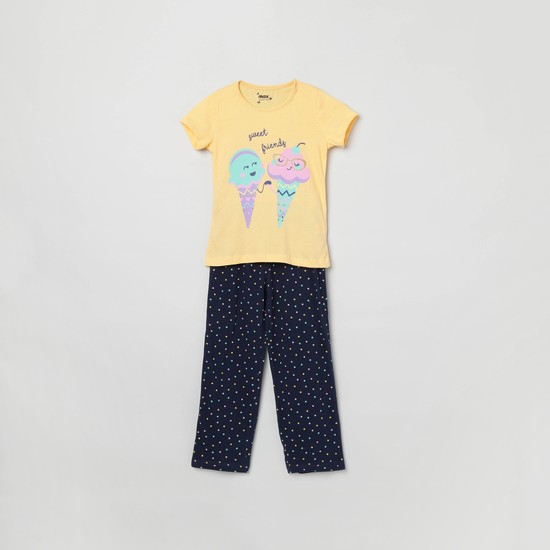 MAX Printed Short Sleeves Top with Pyjamas