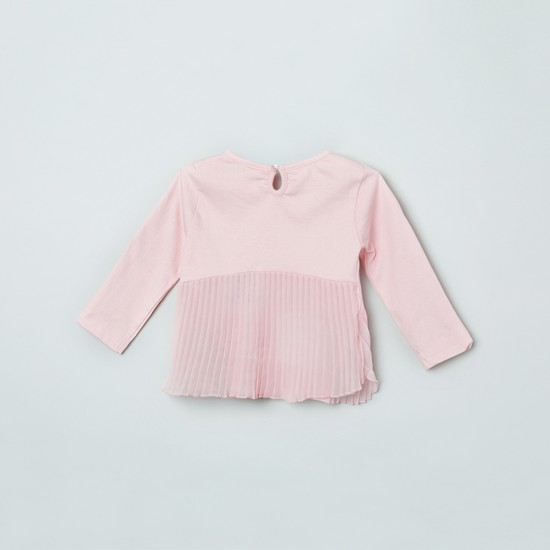 MAX Printed Full Sleeves Top with Accordion Pleats