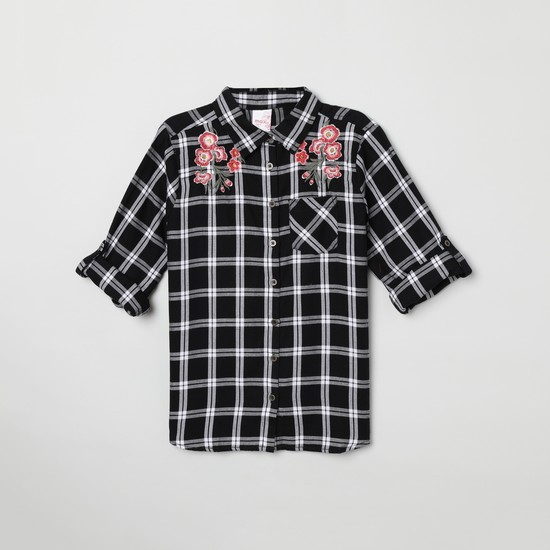 MAX Checked Full Sleeves Shirt with Embroidery