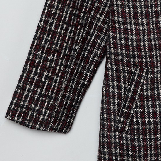MAX Checked Wrap Jacket with Insert Pockets