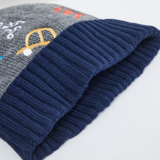 MAX Embroidered Flat-Knit Beanie