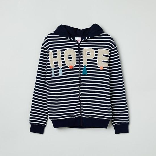 MAX Striped Hooded Full Sleeves Sweatshirt