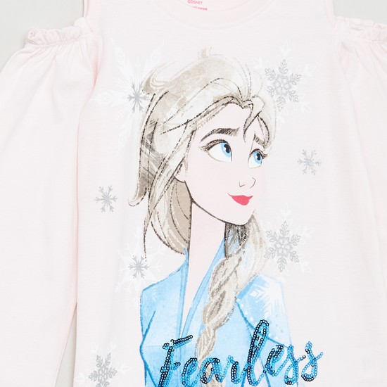 MAX Graphic Print Cold-Shoulder T-shirt