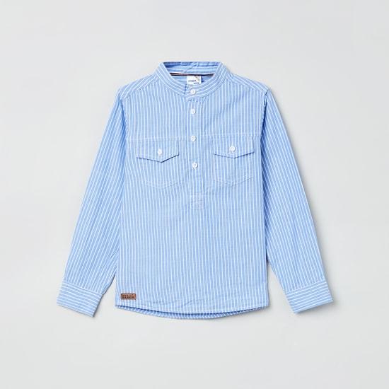 MAX Striped Band Collar Shirt