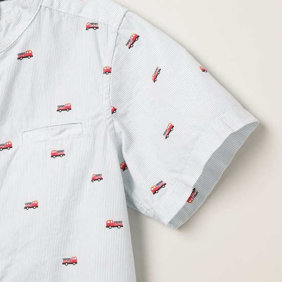 MAX Printed Half-Sleeves Mandarin Collar Shirt