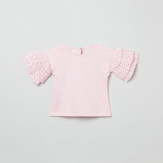 MAX Appliqued Schiffli Layered Sleeves Top
