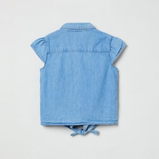 MAX Cutaway Sleeves Lightly Washed Denim Shirt